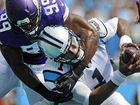Watch: Danielle Hunter sacks Cam Newton for a safety