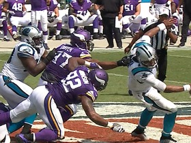 Watch: Cam Newton gets sacked for 12-yard loss