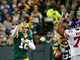 Watch: Rodgers throws interception in red zone
