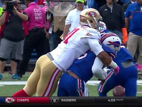 Watch: Arik Armstead pounces on Tyrod Taylor, forces fumble
