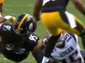 Jones strips the football from Hogan, Steelers recover