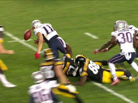 Watch: Edelman fumbles punt, Steelers long snapper recovers