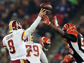 Kirk Cousins throws an incomplete pass, Redskins-Bengals tie