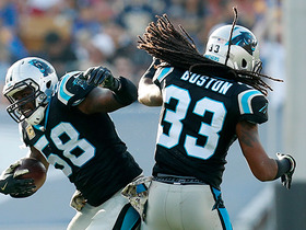 Thomas Davis leaps for acrobatic interception