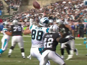 Newton hits Olsen in head with ball, pass interference on Raiders
