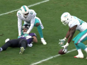 Watch: Dennis Pitta stripped by Byron Maxwell, Michael Thomas recovers for the turnover