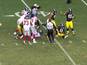 Watch: Eli Manning gets sacked by multiple Steelers defenders