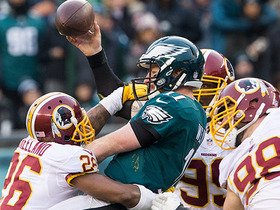 Carson Wentz fumbles; recovered by Redskins to end the game