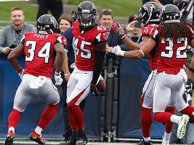 Jared Goff throws a pick-six to fellow rookie Deion Jones