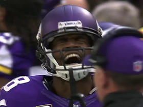 Peterson runs for 13 yards but coughs it up