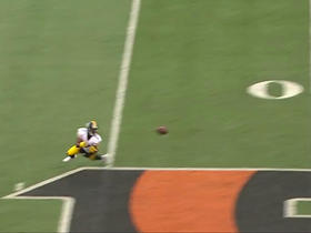 Eli Rogers stretches out for a 28-yard grab