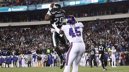 official photos 84a90 c7dfa Terrence Brooks picks off Eli Manning, seals Eagles victory ...