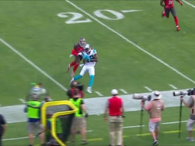 Ted Ginn Jr. receives a 17-yard sideline catch from Cam Newton