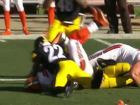 Robert Griffin III corraled by Steelers defense for drive ending sack