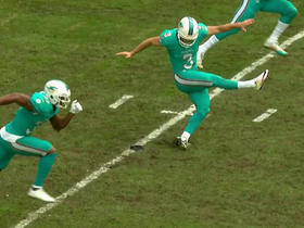 Dolphins kicker slips on kickoff and hits a roller
