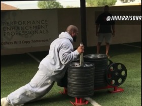 Watch: James Harrison pushes over 1,800 pounds