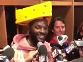 Watch: Martellus Bennett: I usually like the 'cheese' in my pocket, but the cheese on my head works