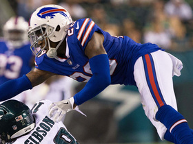 Watch: E.J. Gaines gets interception in his first game as a Bill