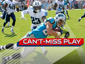 Watch: Can't-Miss Play: McCaffrey blows by defenders, leaps in for 17-yard TD