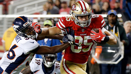 San Francisco Tight End George Kittle Stays In Bounds Bulls