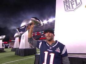 Patriots celebrate their five Super Bowl trophies pregame