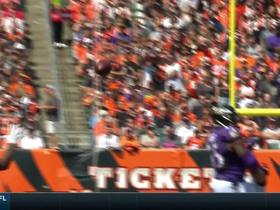 Brandon Carr catches deflection for his first interception as a Raven