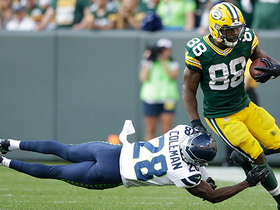 Ty Montgomery sends Justin Coleman to the ground with unreal stiff arm