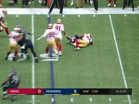 Chris Carson taken down in the backfield by Solomon Thomas