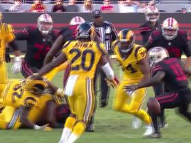 Watch: Raheem Mostert fumbles on run up the middle, Rams recover