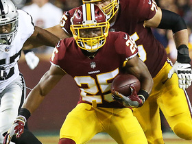 Chris Thompson pushes through defenders for 23 yards