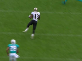 Drew Brees gets a free play throws a deep pass to Michael Thomas for 30 yards