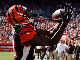 Andy Dalton lofts a perfect pass to wide receiver A.J. Green for a touchdown