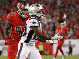 Brady floats an absolute DIME downfield to James White for monster gain