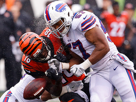 Alexander Lorenzo crushes A.J. Green to force fumble, Jordan Poyer scoops up ball