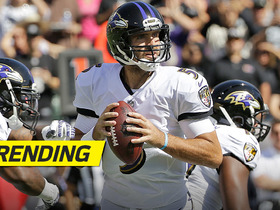Joe Flacco trips, gets up, and throws a completion mid-fall
