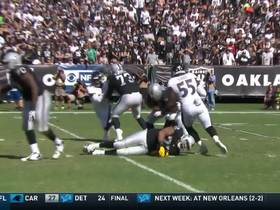 Anthony Levine finds empty lane, drags Manuel down for sack