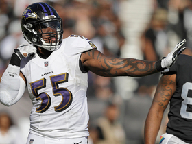 Terrell Suggs swipes by Donald Penn for sack