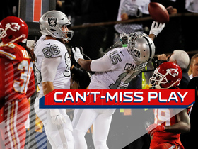 Watch: Can't-Miss Play: Carr finds Crabtree at :00, ties game after goal-line chaos