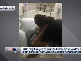 Watch: Harvey Langi reunites with his wife after their car accident