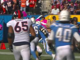 Virgil Green nearly makes crazy catch, jaws with Chargers after play