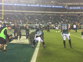Eagles players dance as they warm up for MNF
