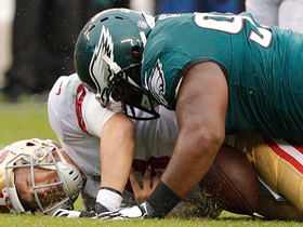 Fletcher Cox powers by 49ers linemen for third-down sack