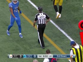 Matthew Stafford throws a laser to T.J. Jones for first down