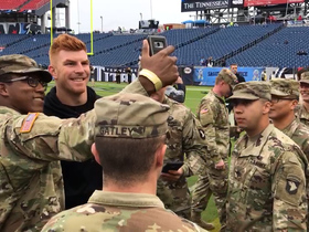 Andy Dalton takes selfies with servicemen pregame