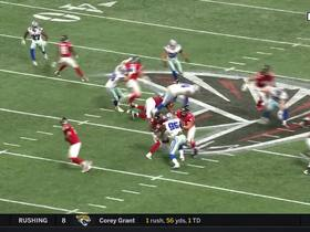 David Irving powers through to tackle Tevin Coleman in backfield