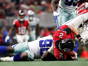 Demarcus Lawrence sacks Matt Ryan, celebrates by cashing out