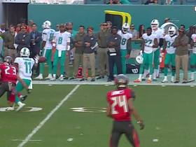 Watch: Robert McClain catches dropped pass off of DeVante Parker's hands for an INT