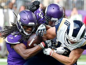 Anthony Harris strips ball from Cooper Kupp at the 1-yard line