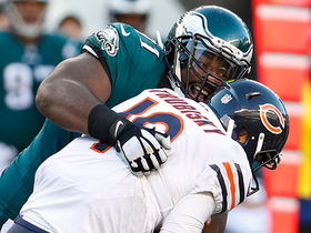 Fletcher Cox smothers Mitchell Trubisky, leaps up to celebrate