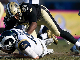 Cameron Jordan swims past Andrew Whitworth for sack